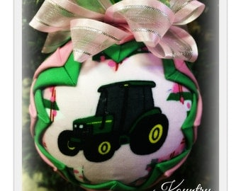 HANDMADE QUILTED Ornament/J D Green Tractor Ornament Made from Fabric/  (Ready to Ship)