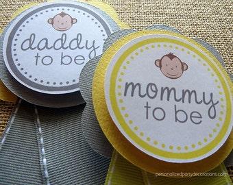 Monkey Baby Shower, Monkey Decorations, Mommy To Be Pin, Grandma To Be Pin, Jungle Baby Shower Decorations, Baby Shower Decor, Customized