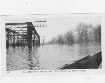 vintage post card 1937 flood scene Jeffersonville Indiana