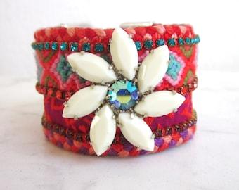 Swarovski friendship bracelet cuff, bohemian rhinestone flower cuff, hippie crystal bracelet, gypsy braided bracelet, boho chic bracelet