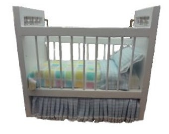 Miniature one inch scale blue/white Teddy bear crib