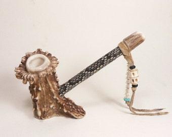 Hand Made Deer Antler Pipe / Rattlesnake Skin  / Rattlesnake Vertebra / Turquoise Bead / fish Vertebra