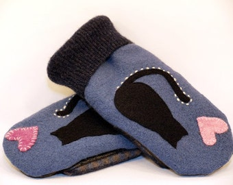Cat Mittens Recycled Felted Wool Blue Black and Pink Cat Applique Leather Palm Fleece Lining Eco Friendly  Up Cycled Size M