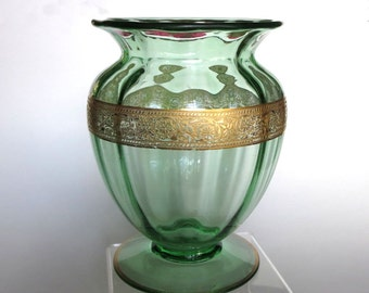 Fostoria Glass GreenVase with Gold Band of Abstract Flowers 1930's Floral Centerpiece