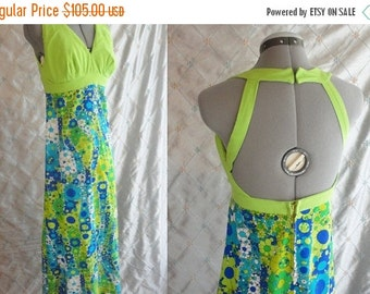 ON SALE 60s Dress // Summer Maxi //  Vintage 1960s Lime Green and Blue and Green Floral Halter Summer Maxi Dress Size M 28 waist