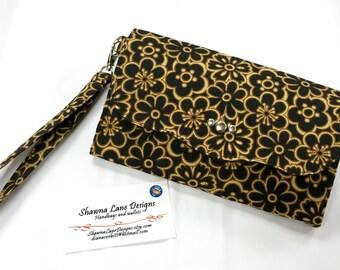 women's wallet, cell phone wallet, black tan floral print wallet, women's gift, wristlet, cell phone accessory, Shawna wallet