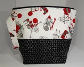 BIG zip - Lined Project Bag - 100% Cotton