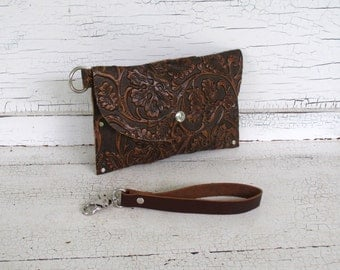 Small Brown Embossed Cowhide Clutch Purse, Wristlet, Wallet With Smartphone Pocket, Festival Purse