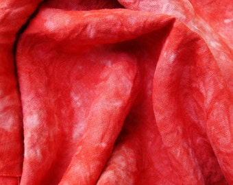 Red Hand Dyed Embroidery Fabric, Organic Hemp Fabric for Embroidery, Extra Wide Quarter Yard, Embroidery Material, Rouille Provence
