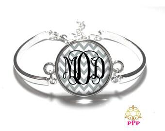 Grey Chevron Monogram Bracelet, Monogram Bangle, Monogram Jewelry, Bridesmaid Gift, Personalized Bracelet - Style 397