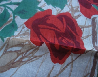 Beautiful Unused Vintage Hanky With A Red Roses Design