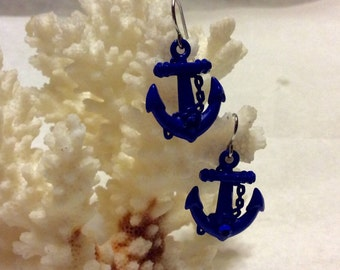 Vintage 1960's acrylic anchor and rhinestone drop dangle earrings.