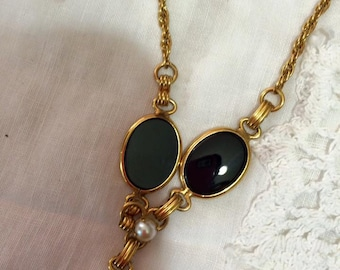 Vintage 12 Karat onyx and pearl drop gold necklace