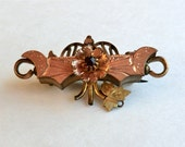 Victorian Brooch Garnet Glass Stone Crescents, Flower Could also be Pendant