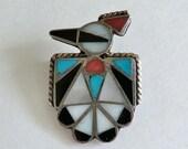 Vintage Sterling Zuni Thunderbird Small Brooch
