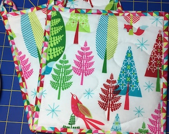 Insulbrite Quilted Potholder Set: Holiday trees. birds and foxes , hostess gift, ready to ship, turquoise, red and pink