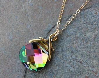 Northern Lights Crystal Gold Necklace -Sparkly pink briolette crystal - 14k gold filled chain - free shipping in USA