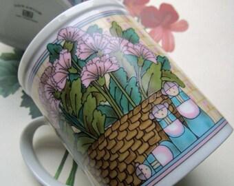Vintage Mugs *  Pair of Otagiri Coffee Mugs * Vintage 1980's Imports * Takahashi Otagiri OTC * Geranium *