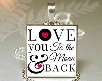 SaLe I Love You To The Moon and Back Typography Valentines Day Granddaughter Gift Glass Pendant Charm Necklace
