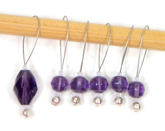 Grape Violet Purple Knitting Stitch Markers Beaded  Snagless Snag Free Knitting Markers