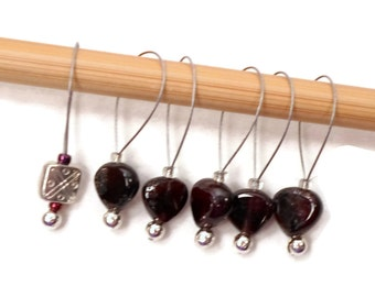 Beaded Stitch Markers Snag Free Garnet Hearts Red Snagless DIY Knitting Supplies Gift for Knitter