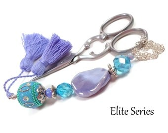 Periwinkle Aqua Scissor Fob Beaded Scissor Keeper Scissor Minder Elite Series Needlepoint Quilting Sewing Cross Stitch Crafts