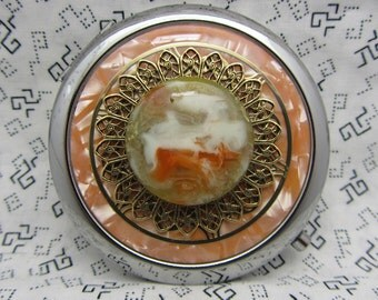 Ladies compact mirror and pouch - handcrafted mirror compact - retro gifts for her - orange round compact mirror - pumpkin spice