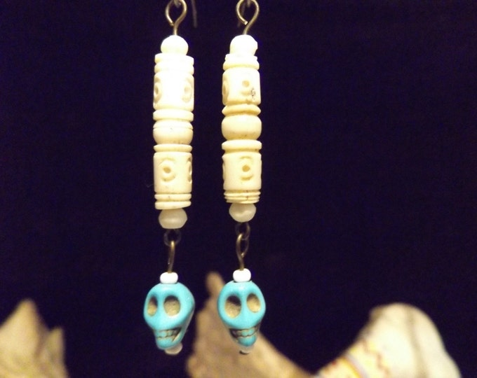 Bone, Turquoise Earrings,Healing Crystal Jewelry,Healing Jewelry, Pagan Tribal Jewelry, Healing Crystal and Stones Jewelry