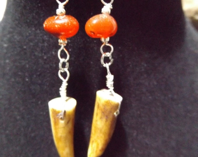 Carnelian, Deer Antler Earrings, Pagan Tribal Earrings, Chakra Healing Jewelry, Sacrel Chakra, Carnelian Earrings, Healing Crystal Jewelry