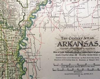 1911 Antique Map of Arkansas - Arkansas Antique Map - Century Atlas