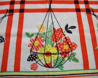 Vintage Tablecloth, Small Tablecloth, Summer Linens, Card Table Tablecloth, Picnic tablecloth