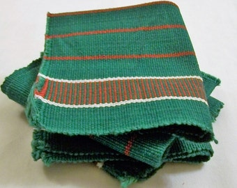 Vintage Swedish Napkins, Green With Red Stripe, Christmas Napkins, Woven Napkins, Luncheon napkins, Small Napkins
