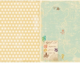 """Webster's Pages Seaside Retreat collection- 12x12 double-sided paper """"Seahorse's Legend"""""""