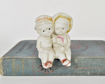 Vintage Children Bisque Shelf Sitter - Great For White Nursery Decor