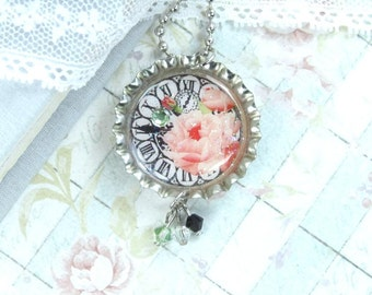 Clock Necklace Pink Rose Necklace Victorian Necklace Bottle Cap Necklace Clock Face Necklace