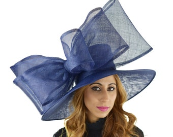 Navy Blue MagPie Hat for Kentucky Derby, Weddings  (30 colours available)