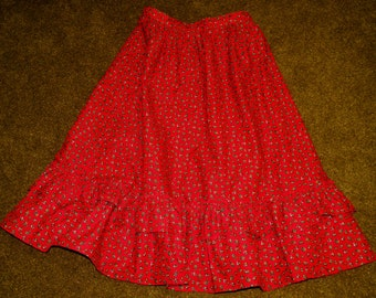 Red Calico Prairie Skirt tag size 13/14