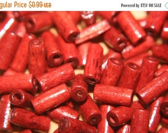 FALL CLEARANCE CLOSEOUT Sale - Cranberry Red Wood Tube Beads - 9mm x 4mm - 100 pcs