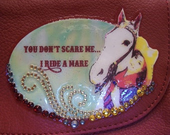 Red Leather Crossbody Cowgirl / Horse Purse ...I ride a Mare
