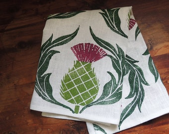 Scottish Thistle rustic hand block printed white linen dinner napkins hostess gift set of six