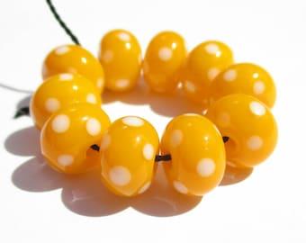 Dark Yellow Polka Dot Minis (10) Lampwork Beads- SRA