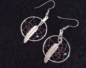 Native American Made Large Pink Dream Catcher Earrings with Turquoise Stone