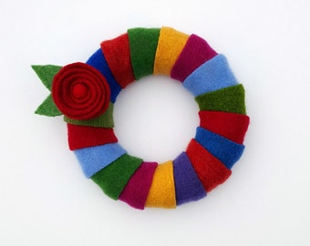 Rescued Wool Wreath - Wool Wrapped Wreath in Brights