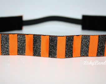 Black and orange stripe no Slip Headband