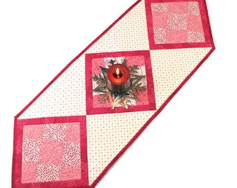 Quilted Table Runner, Pink and Cream Crazy Nine Patch Table Runner Quilt, Valentine's Day, Wedding Decor