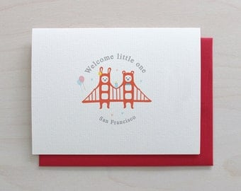 Golden Gate Twins Greeting Card - Baby