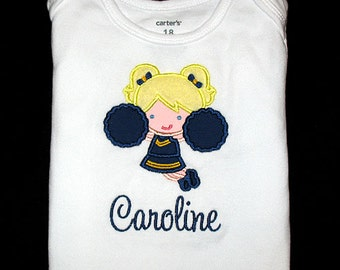 Custom Personalized Applique CHEERLEADER and NAME Bodysuit or Shirt - Navy Blue and Yellow Gold - Or Choose Your Team Colors