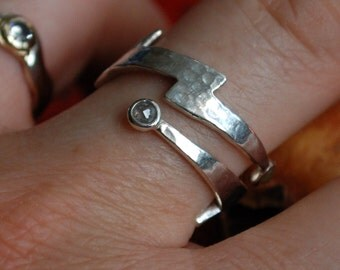 Silver Diamond Lightning Bolt  Wrap Ring