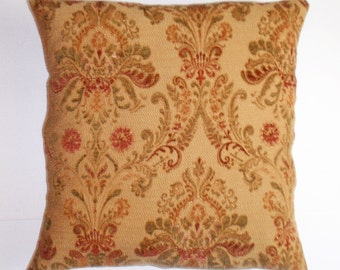 """Throw Pillow Cover, Ornate Tapestry in Autumn Rust Throw Pillow Cover, Traditional Toss Pillow, Autumn Gold Cushion Cover, 18x18"""" Pillow"""