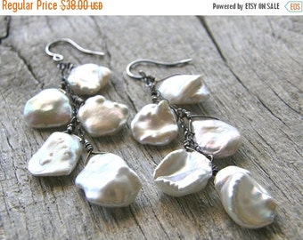 Summer Sale Keshi Pearl Earrings, Cornflake Pearl and Sterling Silver Earrings, Bridal Earrings